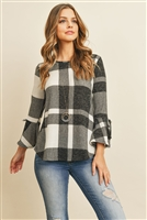 S16-1-3-RFT2189-RPL014-OFWBK - RIBBON DETAIL BELL SLEEVE PLAID ROUNDED HEM TOP- OFF-WHITE/BLACK 1-2-2-2