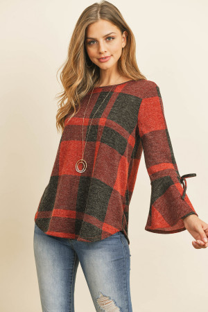 S13-12-2-RFT2189-RPL014-RDBK RED BLACK RIBBON DETAIL BELL SLEEVE PLAID ROUNDED HEM TOP 1-2-2-2