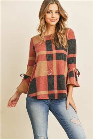 S16-1-3-RFT2189-RPL014-TPBK - RIBBON DETAIL BELL SLEEVE PLAID ROUNDED HEM TOP- TAUPE/BLACK 1-2-2-2