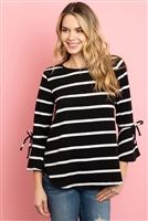 S12-6-3-RFT2189-RS017-BKWT - BELL SLEEVE RIBBON DETAIL STRIPE ROUND HEM TOP- BLACK/WHITE 1-2-2-2