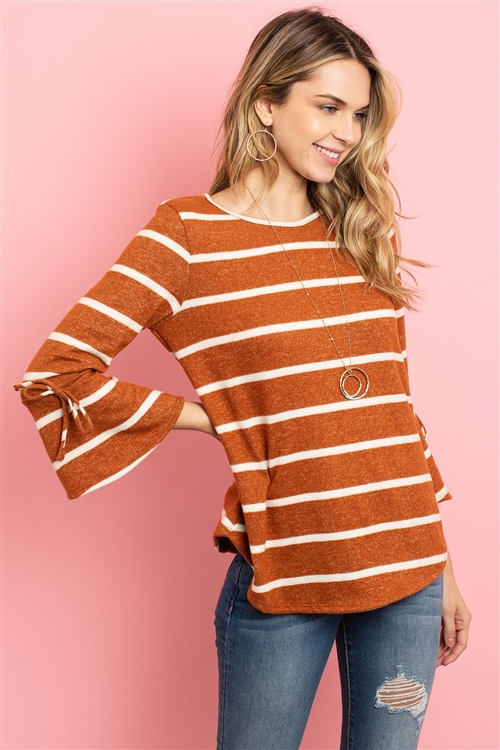 S12-6-3-RFT2189-RS017-CMLWT - BELL SLEEVE RIBBON DETAIL STRIPE ROUND HEM TOP- CAMEL/WHITE 1-2-2-2