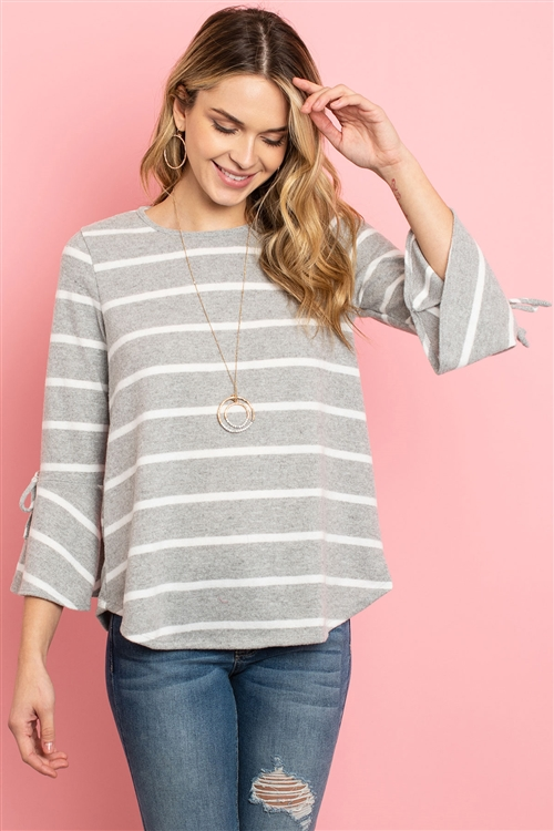 S12-6-3-RFT2189-RS017-HGWT - BELL SLEEVE RIBBON DETAIL STRIPE ROUND HEM TOP- HEATHER GREY/WHITE 1-2-2-2