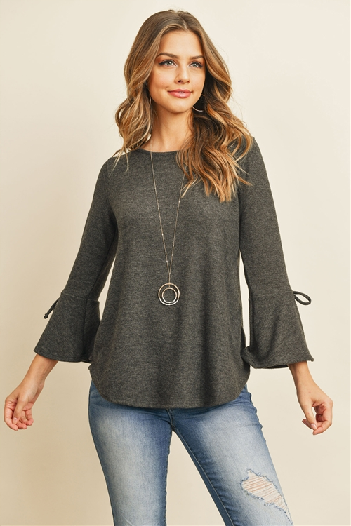 S8-4-4-RFT2189-RSW028-BK - BELL SLEEVED RIBBON DETAIL ROUND NECK TOP- BLACK 1-2-2-2