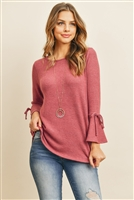 S8-4-4-RFT2189-RSW028-MGT - BELL SLEEVED RIBBON DETAIL ROUND NECK TOP- MAGENTA 1-2-2-2