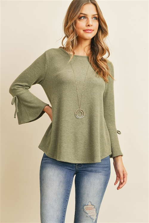 S8-4-4-RFT2189-RSW028-OV - BELL SLEEVED RIBBON DETAIL ROUND NECK TOP- OLIVE 1-2-2-2