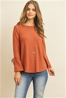 S8-4-4-RFT2189-RSW028-RST - BELL SLEEVED RIBBON DETAIL ROUND NECK TOP- RUST 1-2-2-2
