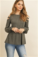 S10-2-1-RFT2213-HC-CHL - LADDER OPEN SHOULDER LONG SLEEVED HACCI TOP- CHARCOAL 1-2-2-2