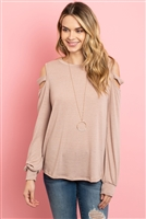 S10-2-2-RFT2213-HC-DSTBLS - LADDER OPEN SHOULDER LONG SLEEVED HACCI TOP- DUSTY BLUSH 1-2-2-2