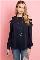 S10-2-1-RFT2213-HC-MDNT - LADDER OPEN SHOULDER LONG SLEEVED HACCI TOP- MIDNIGHT 1-2-2-2