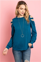 S10-2-2-RFT2213-HC-TL - LADDER OPEN SHOULDER LONG SLEEVED HACCI TOP- TEAL 1-2-2-2