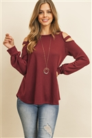 S10-2-2-RFT2213-HC-WN - LADDER OPEN SHOULDER LONG SLEEVED HACCI TOP- WINE 1-2-2-2