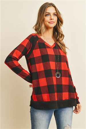 S12-8-3-RFT2216-RPL019-BKRD - CHECKER PLAID V-NECK LONG SLEEVE TOP- BLACK/RED 1-2-2-2