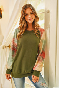 S10-17-4-RFT2230-RTD032-OMSG OLIVE MAUVE SAGE WAFFLE TIE DYE SLEEVE BRUSHED HACCI TOP 1-2-2-2
