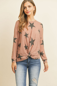 S8-13-3-RFT2249-RPR068-DKMV DARK MAUVE LONG SLEEVE STAR PRINT RIB KNOT TOP 1-2-2-2