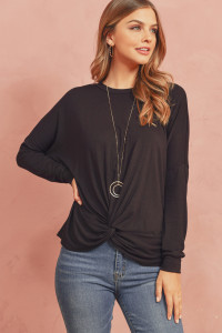 S14-12-4-RFT2249-RSJ-BK BLACK SOLID LONG SLEEVED ROUND NECK KNOT TOP 1-2-2-2