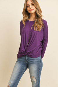 S14-12-4-RFT2249-RSJ-DKEP DARK EGGPLANT SOLID LONG SLEEVED ROUND NECK KNOT TOP 1-2-2-2