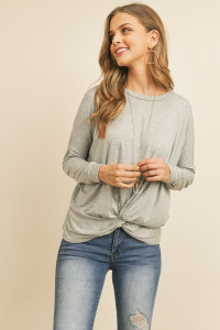 S14-12-3-RFT2249-RSJ-HG HEATHER GRAY SOLID LONG SLEEVED ROUND NECK KNOT TOP 1-2-2-2