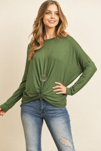 S14-12-3-RFT2249-RSJ-OVDP OLIVE DEEP SOLID LONG SLEEVED ROUND NECK KNOT TOP 1-2-2-2