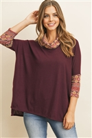 S11-15-3-RFT2261-RPR067-RSNMV - 3/4 SLEEVE COWL NECK CONTRAST TOP- RAISIN/MAUVE 1-2-2-2