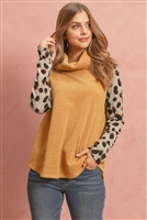 S11-7-1-RFT2280-RAP106C-MUGY - LONG LEOPARD SLEEVE COWL NECK TOP- MUSTARD GREY 1-2-2-2