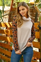 S11-7-1-RFT2280-RAP106C-TPBWN-2 - LONG LEOPARD SLEEVE COWL NECK TOP- TAUPE/BROWN 2-1-2