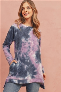 SH-2-RFT2304-RTD027-PPLBK-2 - TIE DYE LONG BACK HEM PULLOVER- PURPLE/BLACK 0-3-0-2