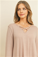 S16-9-4-RFT2313-PRS-DSTBLS - CRISS CROSS NECK LONG SLEEVE HACCI TOP- DUSTY BLUSH 1-2-2-2