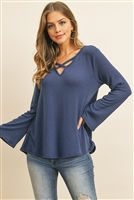 S16-9-3-RFT2313-PRS-FDDNM - CRISS CROSS NECK LONG SLEEVE HACCI TOP- FADED DENIM 1-2-2-2