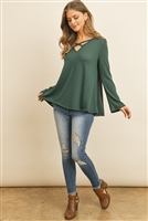 S16-9-4-RFT2313-PRS-HTGN - CRISS CROSS NECK LONG SLEEVE HACCI TOP- HUNTER GREEN 1-2-2-2