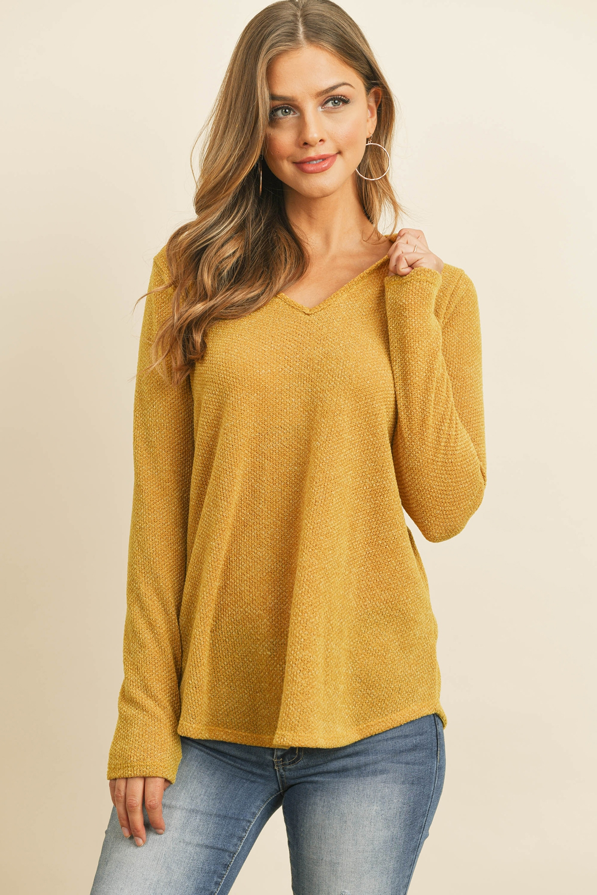 S10-19-1-RFT2319-DRAKE-MU MUSTARD CRISS CROSS NECK LONG SLEEVE HACCI TOP 1-2-2-2