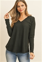 S8-6-4-RFT2319-WFL-BK - V-NECK LONG SLEEVED WAFFLE TOP- BLACK 1-2-2-2