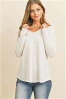 S8-6-4-RFT2319-WFL-IV - V-NECK LONG SLEEVED WAFFLE TOP- IVORY 1-2-2-2