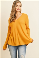 S8-6-4-RFT2319-WFL-MU - V-NECK LONG SLEEVED WAFFLE TOP- MUSTARD 1-2-2-2