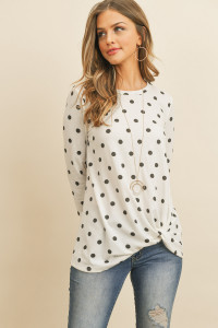 S12-9-3-RFT2320-RPD009-IVBK - POLKA DOT QUARTER SLEEVE KNOT TOP- IVORY/BLACK 1-2-2-2