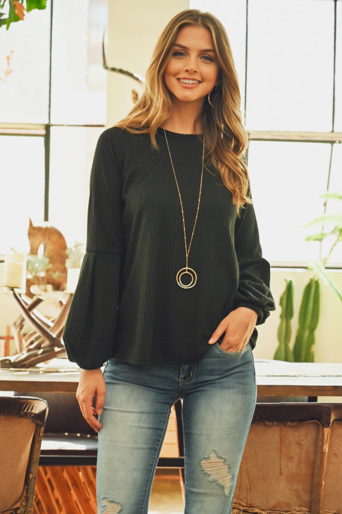 S8-3-4-RFT2348-RSW031-BK - TIERED PUFF SLEEVED BRUSHED RIB TOP- BLACK 1-2-2-2