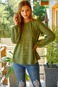 S8-7-4-RFT2348-RSW031-OV - TIERED PUFF SLEEVED BRUSHED RIB TOP- OLIVE 1-2-2-2