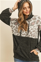 S11-1-1-RFT2359-RAP129C-BKGY - ANIMAL PRINT CONTRAST HOODIE WITH KANGAROO POCKET- BLACK GREY 1-2-2-2
