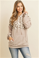 S11-1-1-RFT2359-RAP129C-TPBWN - ANIMAL PRINT CONTRAST HOODIE WITH KANGAROO POCKET- TAUPE BROWN 1-2-2-2