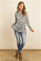 S9-13-3-RFT2368-RAP001-BLGY - LONG SLEEVE ANIMAL PRINT ROUNDED HEM TOP- BLUE GREY 1-2-2-2