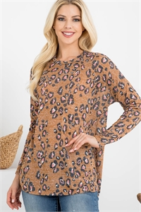 S10-12-2-RFT2368-RAP001-MU - LONG SLEEVE ANIMAL PRINT ROUNDED HEM TOP- MUSTARD 1-2-2-2