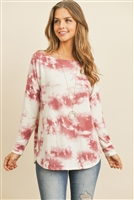 S9-17-1-RFT2371-RTD024-WNOFWT WINE OFF WHITE PRINT LONG SLEEVE TOP 1-2-2-2