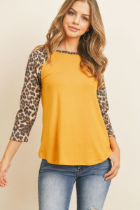 S8-1-2-RFT2373-RAP010C-MUBWN-1 MUSTARD BROWN 3/4 SLEEVE CONTRAST RAGLAN TOP 2-3-3-0