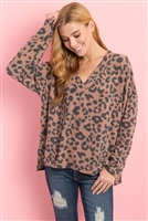 S11-15-3-RFT2375-RAP127-BWN - LEOPARD V-NECK SIDE SLIT LONG BACK HEM TOP- BROWN 1-2-2-2