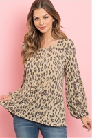 S11-3-3-RFT2376-RAP102-TP - PUFF RUFFLE DETAIL SLEEVE LEOPARD TOP- TAUPE 1-2-2-2