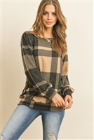 S11-4-3-RFT2378-RPL014-RDBK - PLAID ROUND NECK LONG SLEEVE TOP- LIGHT TAUPE BLACK 1-2-2-2