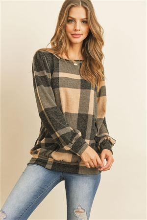 S11-4-3-RFT2378-RPL014-LTTPBK - PLAID ROUND NECK LONG SLEEVE TOP- LIGHT TAUPE BLACK 1-2-2-2