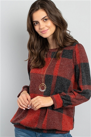 S5-1-4-RFT2378-RPL014-RDBK-1 - PLAID ROUND NECK LONG SLEEVE TOP- RED BLACK 2-1-1-0