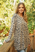 S10-1-3-RFT2388-RAP096-MCBK - OVERSIZED ANIMAL PRINT LONG SLEEVED TOP WITH SIDE SLIT- MOCHA/BLACK 1-2-2-2