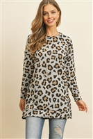 S14-11-2-RFT2388-RAP126-HT - LONG SLEEVED LEOPARD OVERSIZED SWEATSHIRT- HEATHER 1-2-2-2