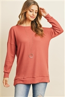 S16-1-3-RFT2388-WF-VMV - SOLID WAFFLE ROUND NECK TUNIC TOP- VINTAGE MAUVE 1-2-2-2